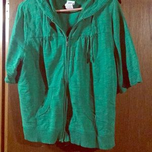 Short Sleeve Cardigan with Hood Sweater Material